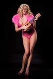 Młoda Kobieta Z ukulele Zdjęcie Stock