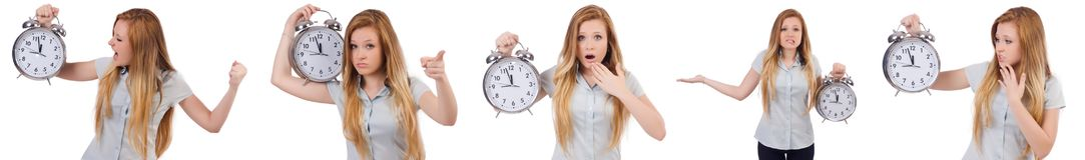 Młoda kobieta z zegarem na bielu Zdjęcia Royalty Free