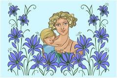 młoda matka z dzieckiem i abstraktem kwitnie Obrazy Stock