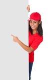 Młoda pizzy kobieta Przedstawia sztandar Zdjęcia Royalty Free