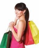 Młoda urocza kobieta z torba na zakupy Fotografia Royalty Free