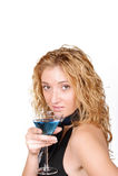 młoda uwodzicielska Martini szklana target916_1_ kobieta Obraz Royalty Free
