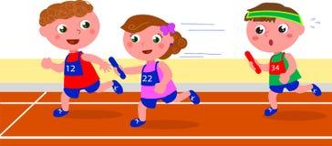 Młode dziecko biegaczów sztafetowy turniejowy wektor Zdjęcia Stock