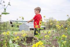 Młode dziecko w ogródzie Zdjęcie Royalty Free