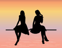 młode kobiety sylwetek Zdjęcia Royalty Free