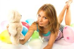 młode kobiety teddy Zdjęcie Stock