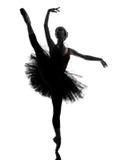 Młodej kobiety baleriny baletniczego tancerza dancingowa sylwetka Obraz Stock