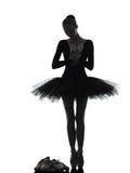 Młodej kobiety baleriny baletniczego tancerza dancingowa sylwetka Fotografia Royalty Free