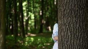 Młodej kobiety falowanie od behind drzewa w lesie zbiory wideo