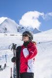 Młodej kobiety narciarstwo Zdjęcia Stock