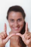 Młodej kobiety otoczka jej twarz Zdjęcie Royalty Free