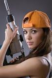 Młodej kobiety seksowny pracownik budowlany Zdjęcia Stock