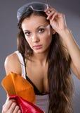 Młodej kobiety seksowny pracownik budowlany Obraz Royalty Free