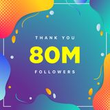 80M oder 80000000, Nachfolger danken Ihnen bunte geometrische Hintergrundzahl Zusammenfassung für Freunde des Sozialen Netzes, Na stockfoto