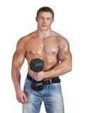 Młody bodybuilder szkolenie z dumbbell Fotografia Stock