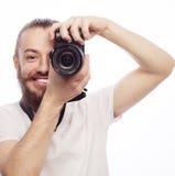 Młody brodaty fotograf Fotografia Royalty Free