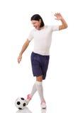 Młody futbolista na bielu Obraz Stock