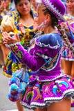 Młody lokalny kobieta taniec podczas festiwalu Dziewiczy De Los angeles Ca Obraz Stock