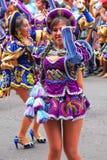 Młody lokalny kobieta taniec podczas festiwalu Dziewiczy De Los angeles Ca Obraz Royalty Free