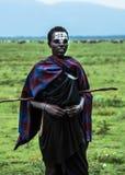 Młody Maasai wojownik Moran lub junior, z pióropuszem i ocechowaniami Obraz Royalty Free