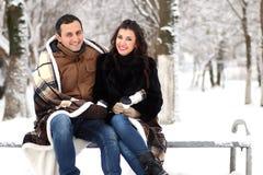 Młody para spacer w zima parku Obraz Royalty Free