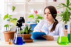 M?ody pi?kny biotechnologia chemik pracuje w lab obrazy royalty free