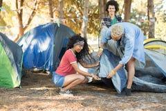 Młody przyjaciela utworzenia namiot wpólnie na polu Obraz Royalty Free