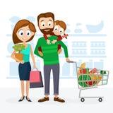 Młody rodzinny tata, mama i córka w supermarketa zakupy, Obraz Stock