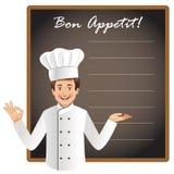Młody szef kuchni z pustym blackboard Fotografia Royalty Free