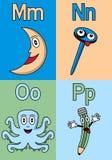 M-P van het Alfabet van de kleuterschool Stock Foto's