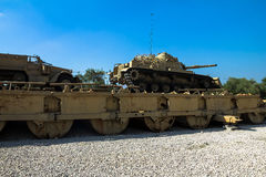 M60 Patton Tank with M9 Dozer Blade and M3 half-track carrier on Pontoon bridge. Latrun, Israel. LATRUN, ISRAEL - OCTOBER 14, 2015:  M60  Patton Tank with M9 Royalty Free Stock Image