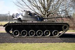 M48 Patton Tank. This is a picture of a M48 Patton Tank on display at the Cantigny Tank Park located in Winfield, Illinois in DuPage County.  The M48 was the U.S Stock Photography