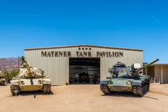 M60 Patton Tanks. Two M60A3 main battle tanks on display at the General Patton Memorial Museum in Chiriaco Summit, California Stock Images
