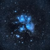M45, Pleiades cluster or the seven sisters stock photo