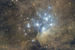 M45 Pleiades deepest image. Imaged with a telescope and a scientific CCD camera royalty free illustration