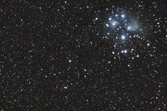 M45 - Pleiades. Is an open star cluster in Taurus constellation Stock Photography