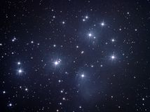 M45 - Plejades. Explanation: Perhaps the most famous star cluster on the sky, the Pleiades can be seen without binoculars from even the depths of a light Stock Image