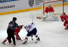 M. Potapov (15) and K. Chipchura (24) on faceoff Royalty Free Stock Image