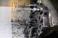 A máquina do torno do CNC Máquina de gerencio para furar com a ferramenta da ferramenta da broca e da broca de centro Fazer à máq fotos de stock