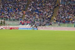 100m race. Usain Bolt running on 100 m race on Diamond League in Rome, Italy in 2016 stock image