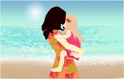 M?re et fille sur la plage, illustration libre de droits