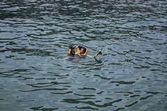 M?re et fils utilisant un gilet de sauvetage, plong?e ? l'air en mer photographie stock