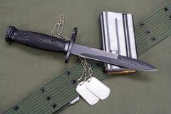 M16 rifle bayonet on uniform Stock Photos