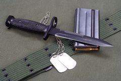 M16 rifle bayonet on uniform Stock Images