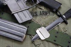 M16 rifle bayonet on uniform Stock Image