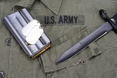 M16 rifle bayonet on uniform Royalty Free Stock Images