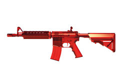 M4A1 rifle. 3D render illustration of a red plastic rifle isolated on white background stock illustration