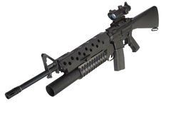 M16 rifle with an M203 grenade launcher Stock Photos
