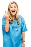 Mûrissez heureux de femme d'infirmière d'isolement sur le fond blanc Photographie stock