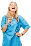 Mûrissez heureux de femme d'infirmière d'isolement sur le fond blanc Photo stock